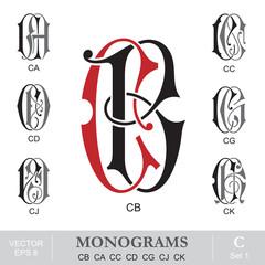Vintage Monograms CB CA CC CD CG CJ CK