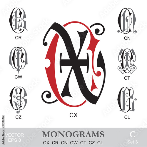 Vintage Monograms CX CR CN CW CT CZ CL