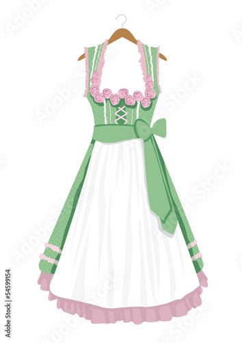 Dirndl auf Kleiderbügel grün