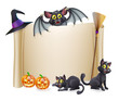 Halloween scroll sign and bat
