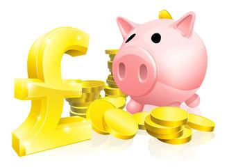 Pound sign piggy bank