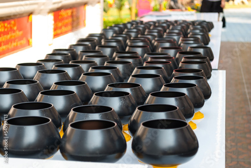 Small Black Bowls for Alms to Buddhist Monks