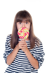 Cute fun little girl holding big lolly pop