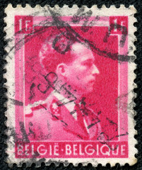 stamp printed in Belgium, shows portrait Leopold III