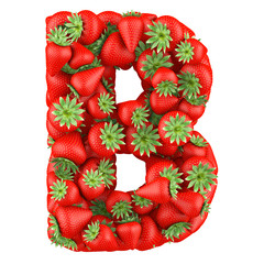 Letter - B made of Strawberry. Isolated on a white.
