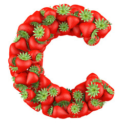Letter - C made of Strawberry. Isolated on a white.