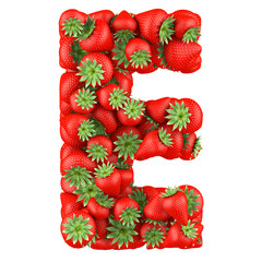 Letter - E made of Strawberry. Isolated on a white.