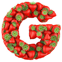 Letter - G made of Strawberry. Isolated on a white.