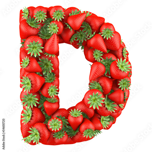 Letter - D made of Strawberry. Isolated on a white.