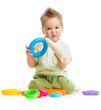 baby playing colorful toys isolated on white