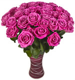 Fototapety bouquet of pink roses  in vase on white background