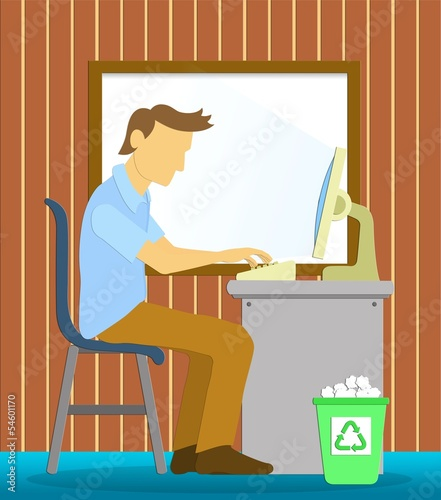 Office man to working with computer