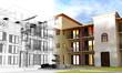 Leinwanddruck Bild - Rendering progetto, esterni, condominio, Appartamento