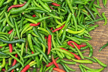 Hot chili red peppers in market, Thailand