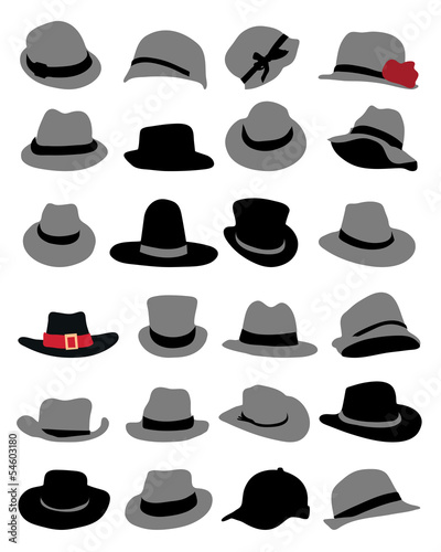 Illustrations of male and female hat, vector © ratkom