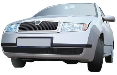 Silver Car - Realistic Illustration, Vector