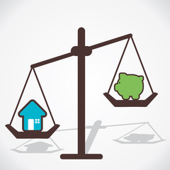 cost of house is more than you save vector