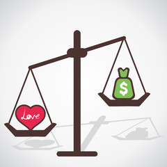 love is more powerful than money vector