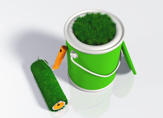 paint roller and a grassy colored pot