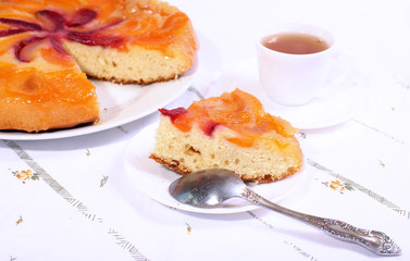 tea and cake with apricots and plums