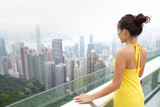 Hong Kong Victoria Peak Asian tourist woman