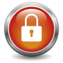 Icône bouton cadenas sécurité rouge