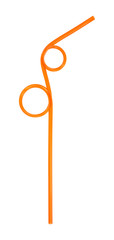 Orange drinking straw bent at angles