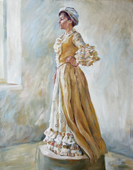 Woman in old-fashioned dress standing oil illustration
