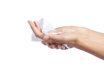 Woman cleaning her hands with a tissue