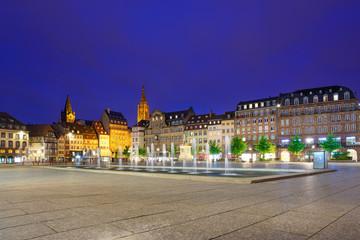 Strasbourg sunset in Place Kleber square. Alsace, France