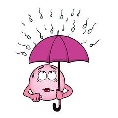 Egg cell holding an umbrella against a rain of sperm.