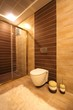 Shower cabin at the modern bathroom