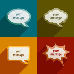 color speech bubble clouds kit for messages - eps10 vector