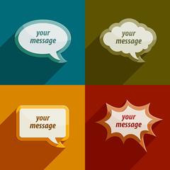 color speech bubble clouds kit for messages - eps10 vector