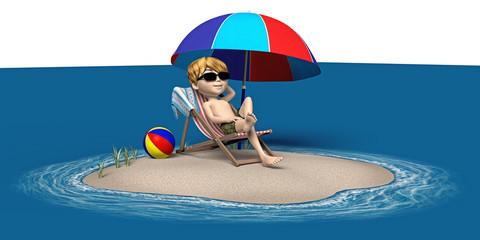 Cartoon-Junge auf einer kleinen Insel im Meer