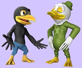 Cartoon-Figuren / Krähe und Ente 3