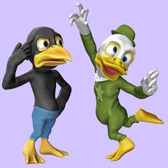 Cartoon-Figuren / Krähe und Ente 2