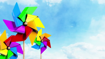 Colored Spinning Pinwheels on the Sky
