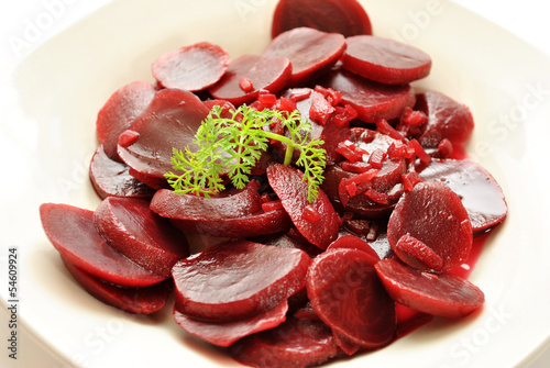 Parsley on Pickled Beets and Diced Onions