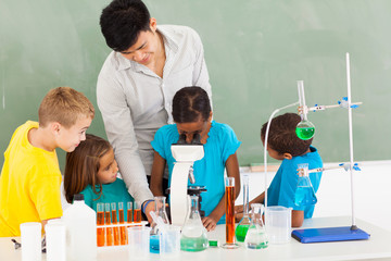primary teacher and students in science class