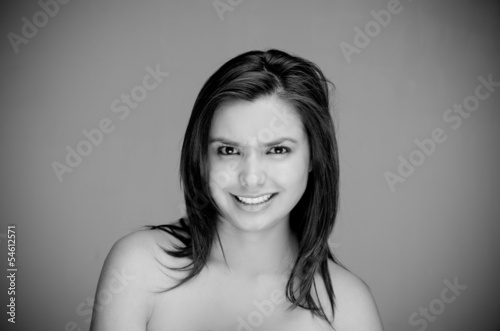 Happy naked topless woman