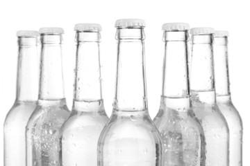 Water bottles close up