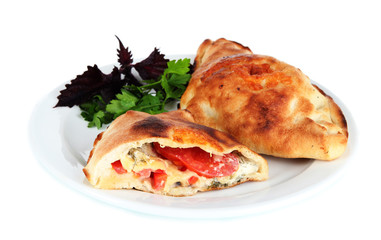 Pizza calzone on table isolated on white