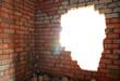 Leinwanddruck Bild - Broken bricks wall
