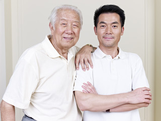 portrait of asian father and son