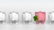 Piggy bank - orthographic raw with pink pig with clover