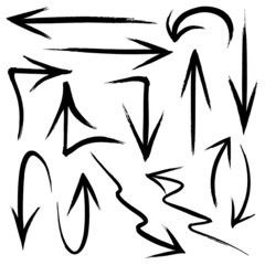 Collection of hand drawn doodle style arrows in various directio