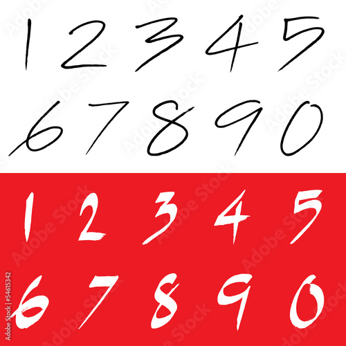 Numbers 0-9 written with a brush .