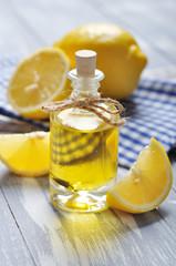 lemon oil in a glass bottle