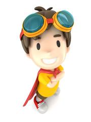3d render of a superhero boy standing proud